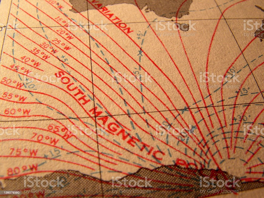 South Magnetic Pole - Antique Chart royalty-free stock photo