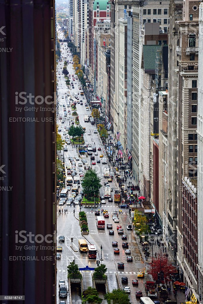 South Michigan Avenue, viewed from above, Chicago stock photo