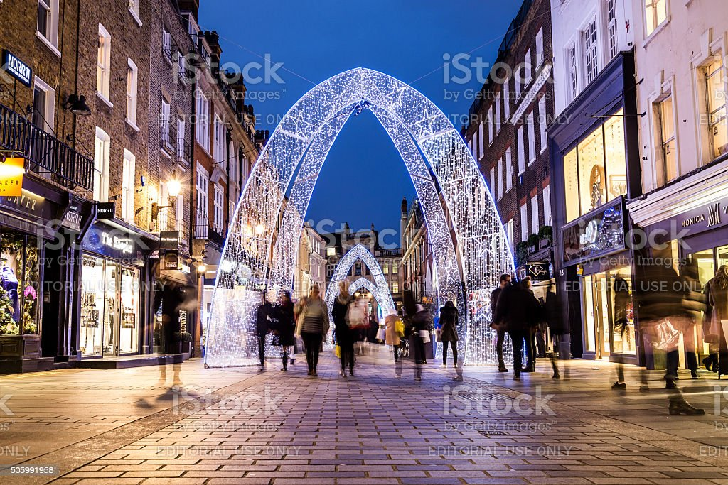 South Molton Street in London during the Christmas Period stock photo