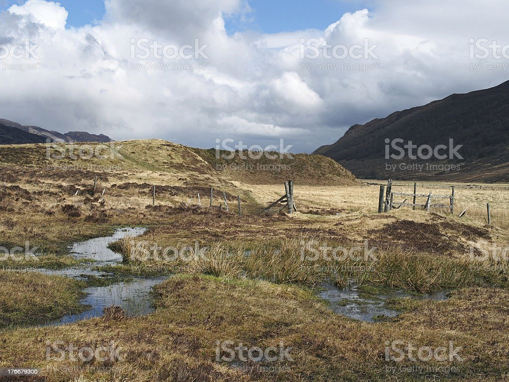 South Monadhliath mountains,  Spey valley, sheep fence, Scotland in spring royalty-free stock photo