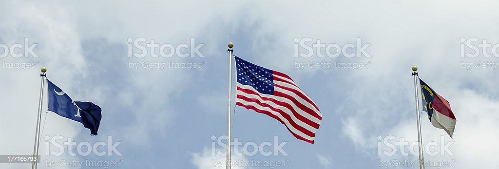 south  , north carolina and usa flag royalty-free stock photo