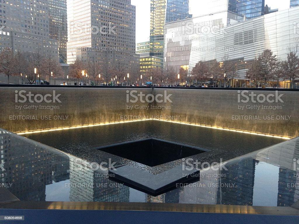 South Pool of 9/11 Memorial in Manhattan. stock photo