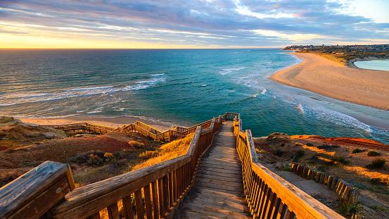 South Port Beach boardwalk at sunset, Port Noarlunga, South Australia