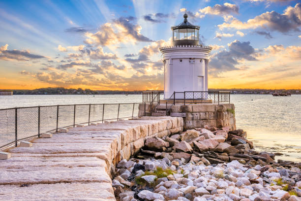 South Portland, Maine, USA South Portland, Maine, USA at the Portland Breakwater Light. groyne stock pictures, royalty-free photos & images