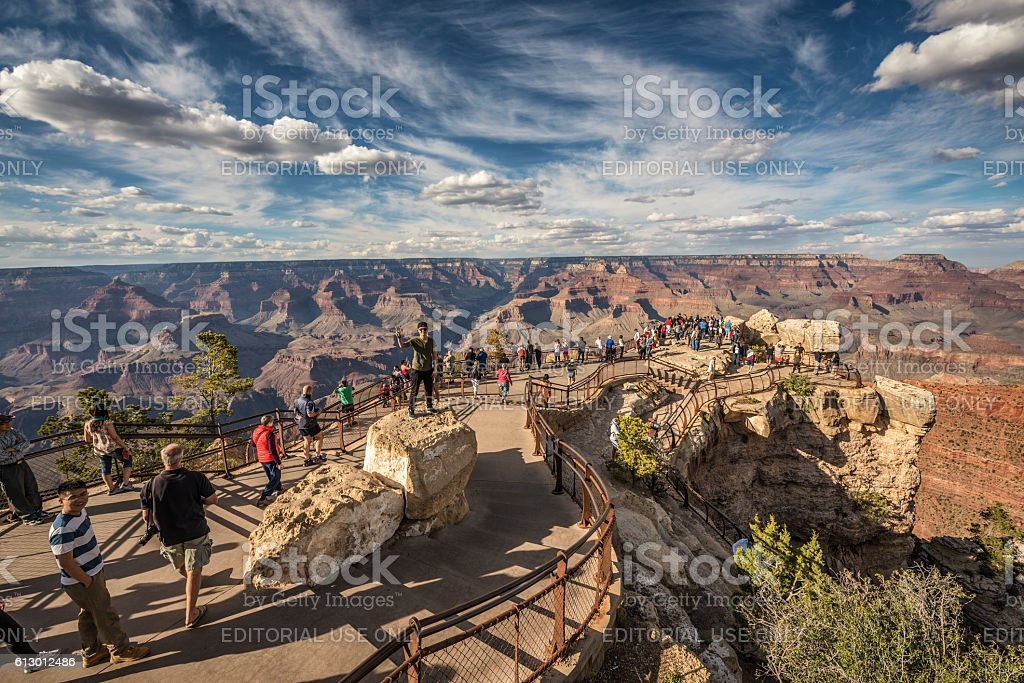 South rim of Grand Canyon from the 'Mather Point' stock photo