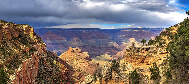South Rim of Grand Canyon National Park with cloudscape stock photo