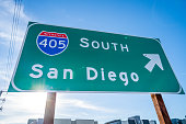 Close up Image of a 405 Sign in Irvine, CA headed South Bound to San Diego