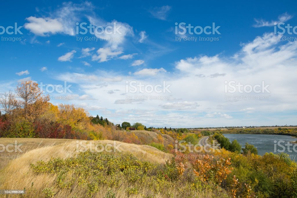 South Saskatchewan River at Saskatoon in autumn stock photo