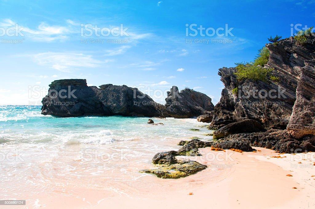 South Shore beach e pedras na praia trail- Bermuda - foto de acervo