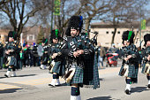 Chicago, Illinois, USA - March 11, 2018, The South Side Irish Parade is a cultural and religious celebration from Ireland in honor of  Saint Patrick.
