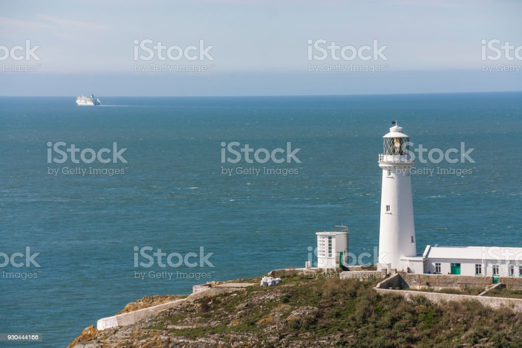 South Stack Lighthouse in Anglesea, Wales, UK stock photo