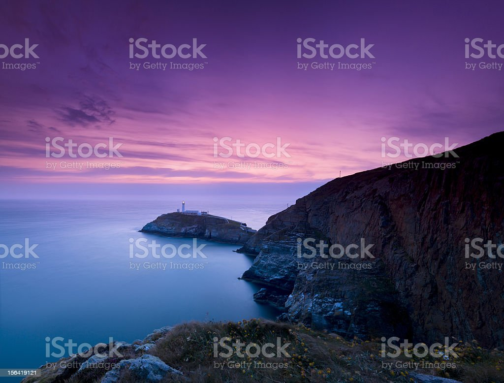 South Stack Lighthouse Sunset Panorama, Angelsey, Wales stock photo