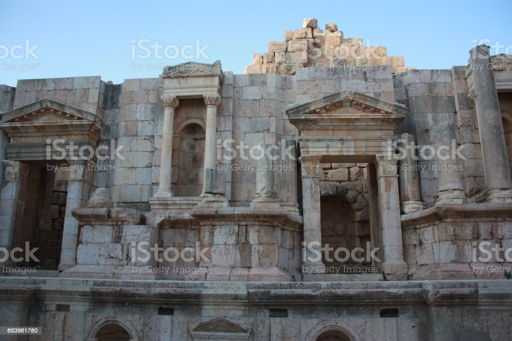 South Theater in Jerash in Jordan, Middle East stock photo