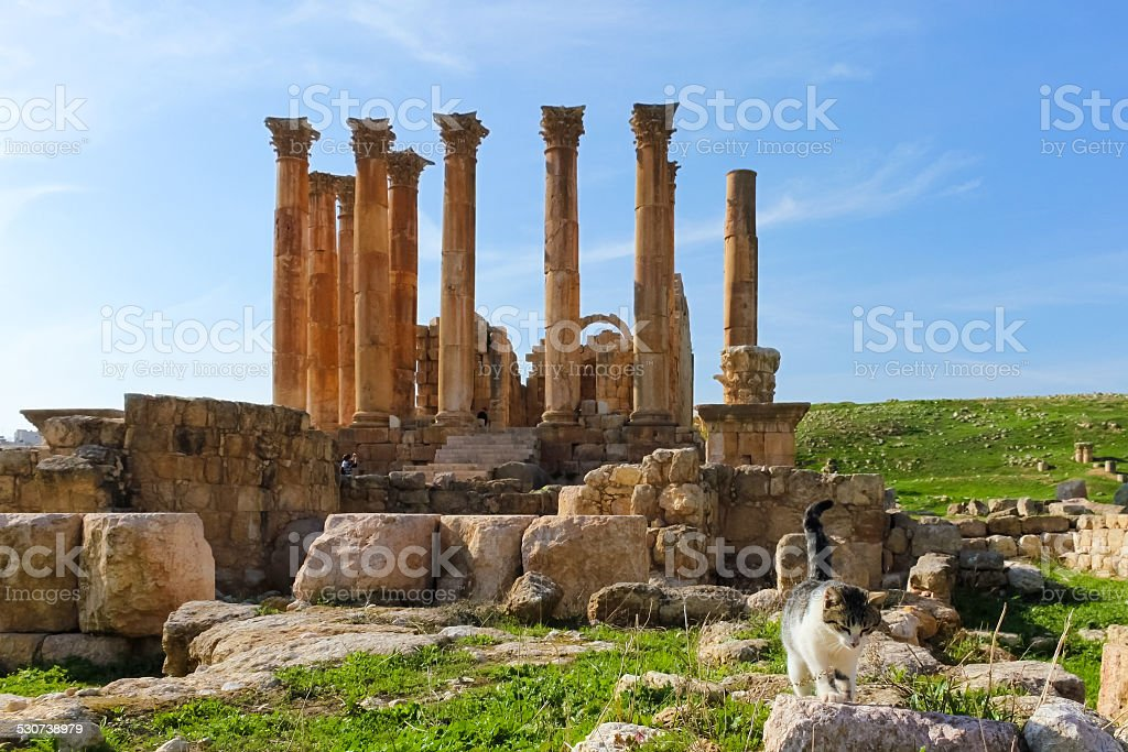South Theatre, Roman ruins in the city of Jerash stock photo