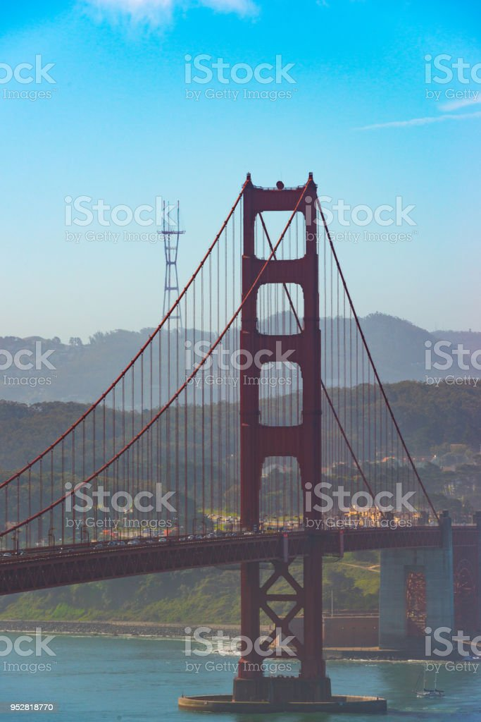 South tower of the Golden Gate Bridge viewed from Marin headlands stock photo