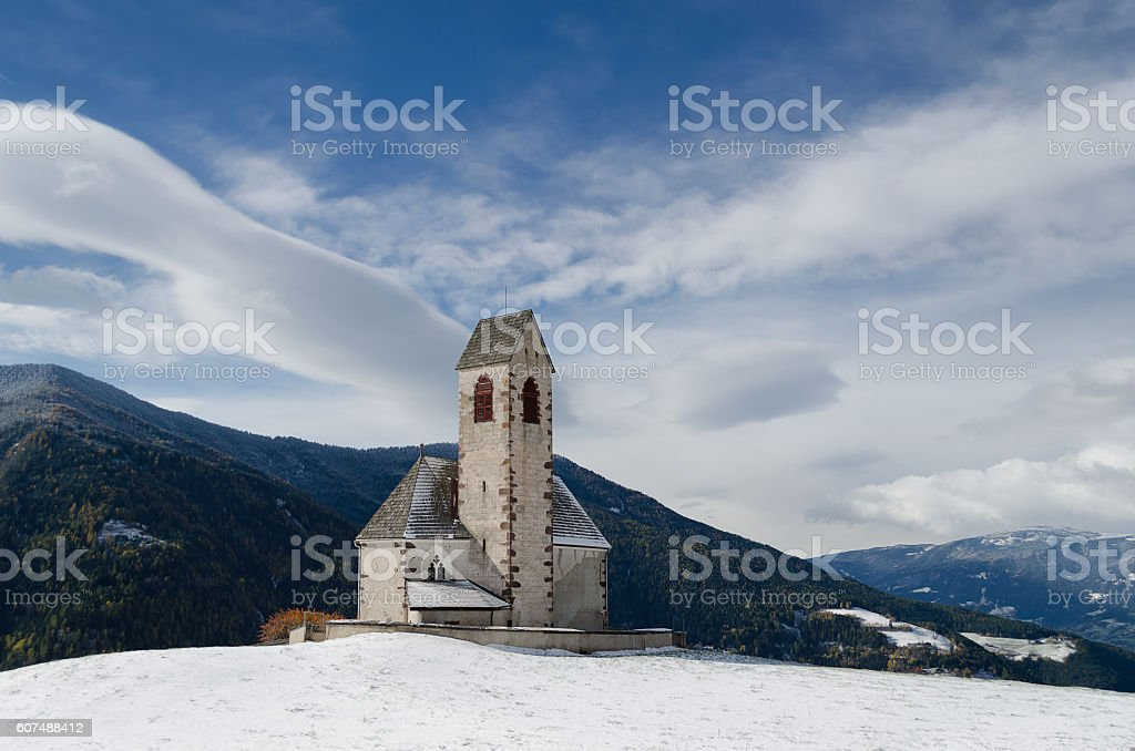 South Tyrol church in winter stock photo
