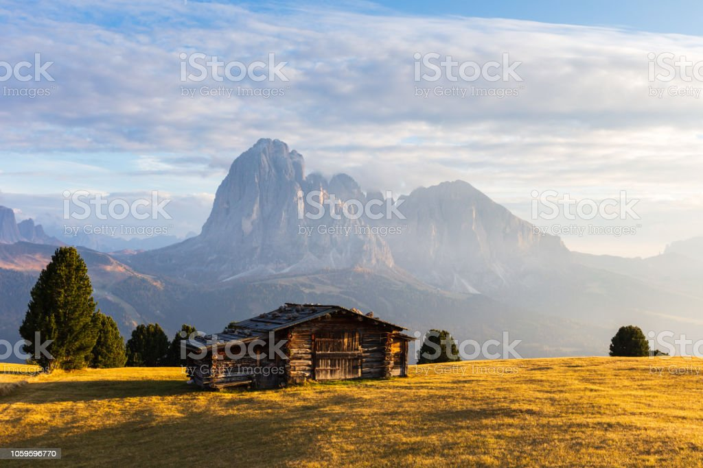 South Tyrol mountains at sunset stock photo