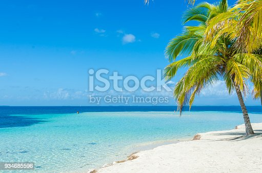 South Water Caye - Small tropical island at Barrier Reef with paradise beach - known for diving, snorkeling and relaxing vacations - Caribbean Sea, Belize, Central America