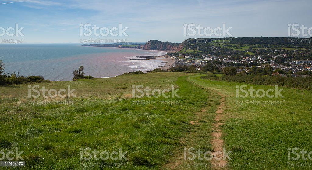 South west coast path Sidmouth Devon UK stock photo