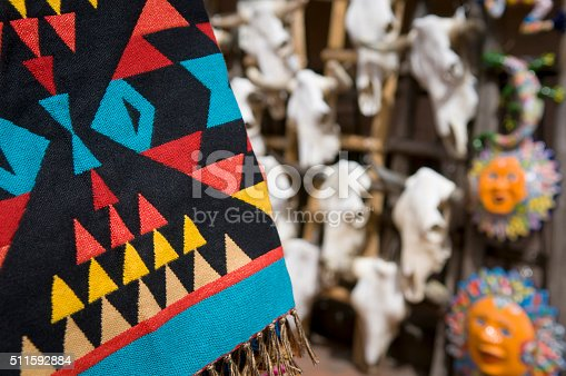 Photo of blanket and cow skulls in marketplace.