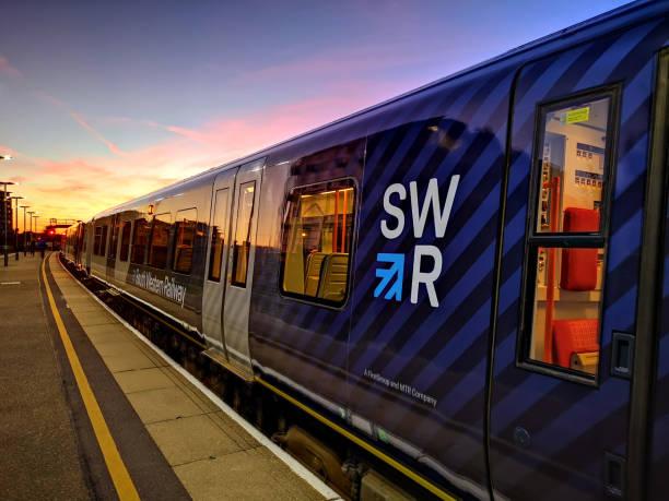South Western Railway train at Basingstoke stock photo