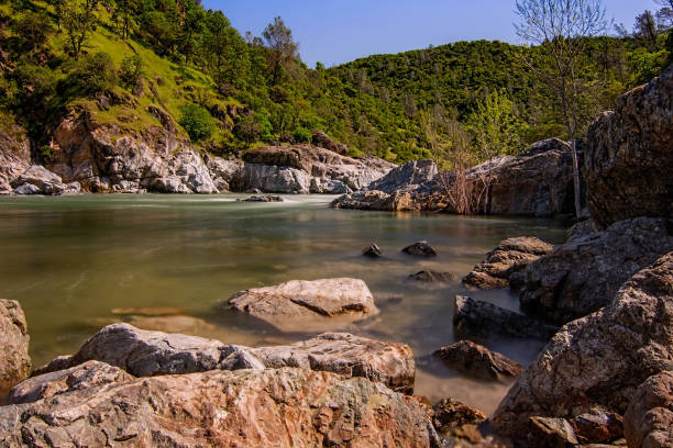 South Yuba River in California,  State Park, on a sprimg morning stock photo
