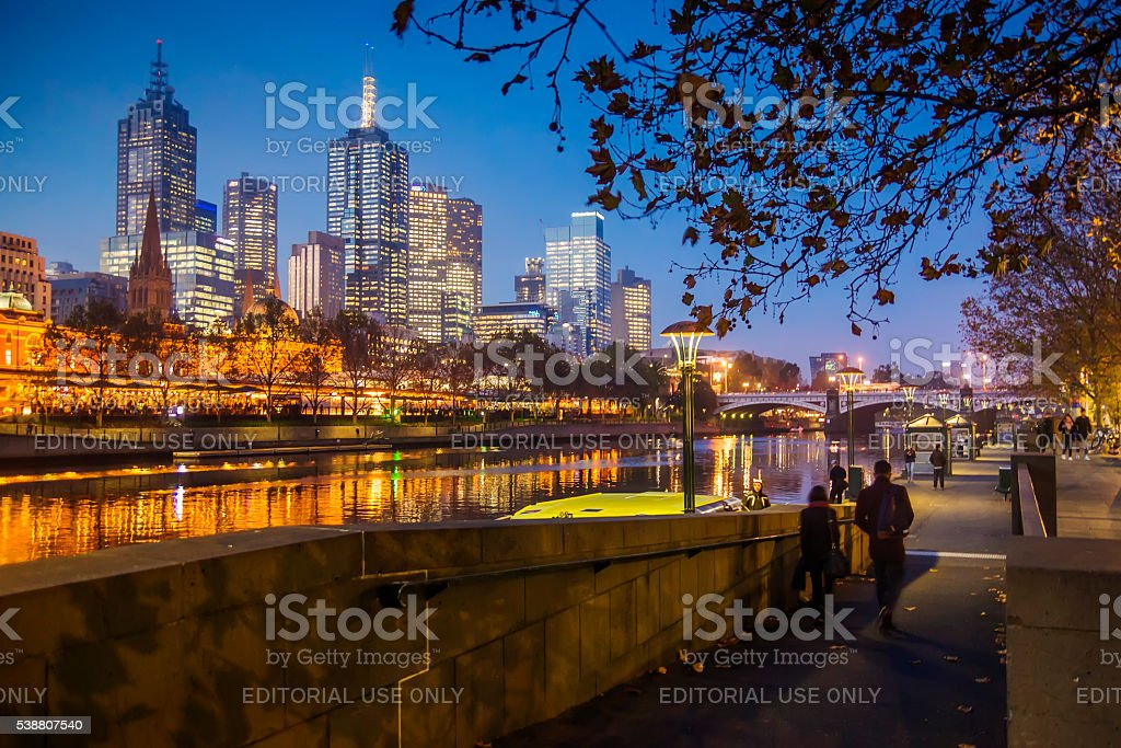 Southbank in Melbourne stock photo