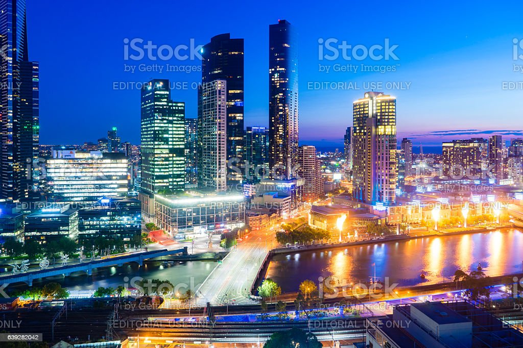 Southbank of Melbourne at night stock photo