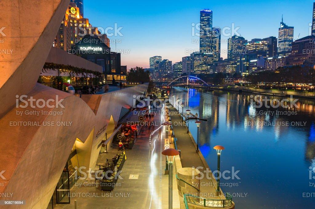 Southbank Promenade and Yarra river embankment at night stock photo