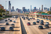 Traffic moves along Interstate 90 south of downtown Chicago, Illinois.