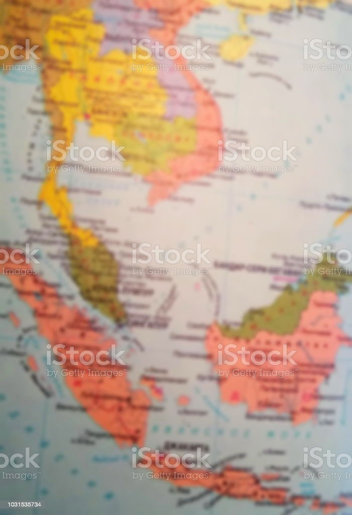 Blurred map of Southeast Asia, includes the countries of Cambodia,...