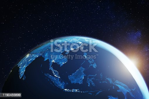 Southeast Asia from space at night with city lights showing South East Asian cities in Thailand, Vietnam, Malaysia, Singapore and Indonesia, 3d rendering of planet Earth, elements from NASA (https://eoimages.gsfc.nasa.gov/images/imagerecords/57000/57752/land_shallow_topo_2048.jpg)