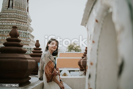 archaeology, Thailand, Bangkok, travel, lifestyles, vacations, women, freedom, vitality, wellbeing, women, day, exploration, relaxation, hipster, cultures, temple-building, temple, looking at camera, happiness, horizontal