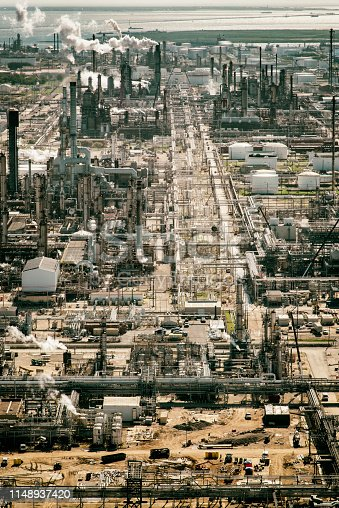 American oil production above a refinery in Texas City, Texas, located just south of Houston on Galveston Bay.