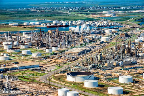 Aerial view of a large Texas oil refinery along the Galveston Bay in Texas City, Texas just south of Houston.