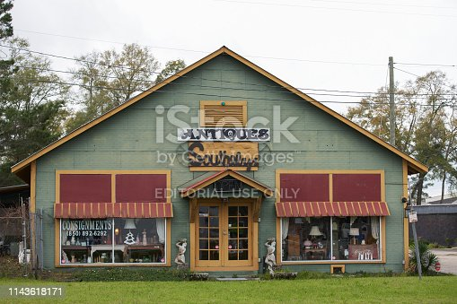 Defuniak Springs, FAL, USA - March 15, 2019: Southeby's Antiques Gallery DeFuniak Springs FL USA