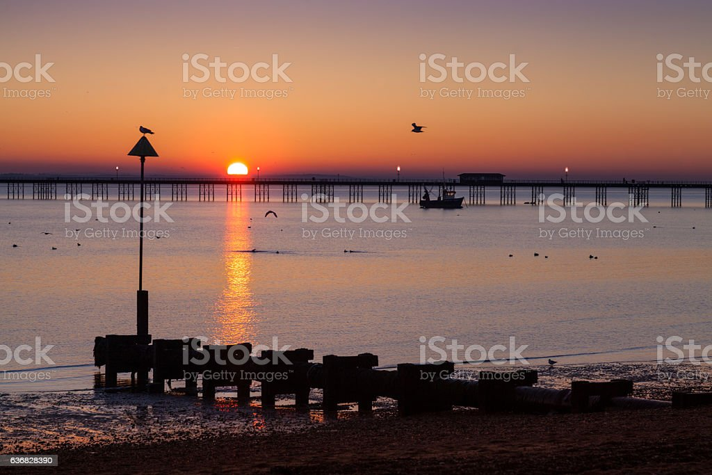 Southend Pier at Sunset stock photo