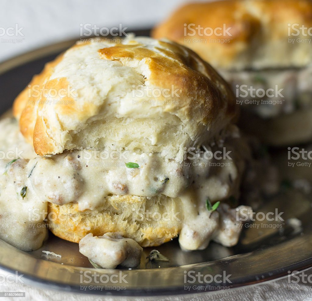 Southern biscuits and gravy stock photo