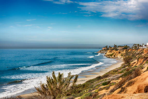 Southern California Beach Scenic Stretch of beach in the northern portion of coastal San Diego County in the city of Carlsbad. rocky coastline stock pictures, royalty-free photos & images
