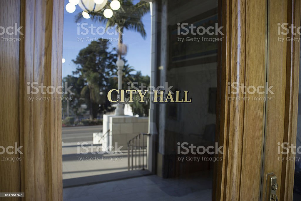 Southern California City Hall Exterior and Stairs stock photo