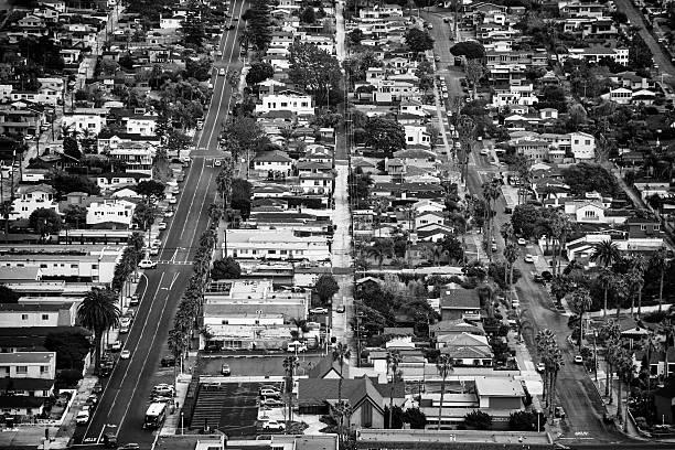 Southern California Residential Neighborhood Aerial View stock photo