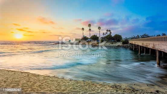 Summer Sunset at Cardiff by the Sea State Beach in Encinitas, CA, USA