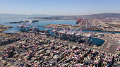 Aerial view of the Long Beach and Los Angeles ports.