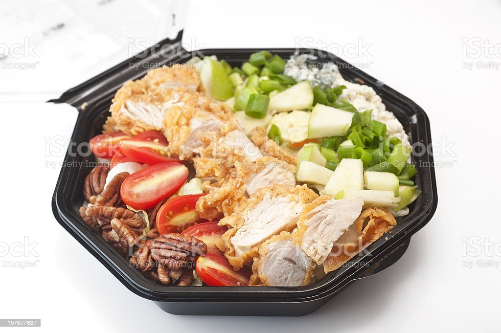 Southern Cobb Salad in black plastic bowl royalty-free stock photo
