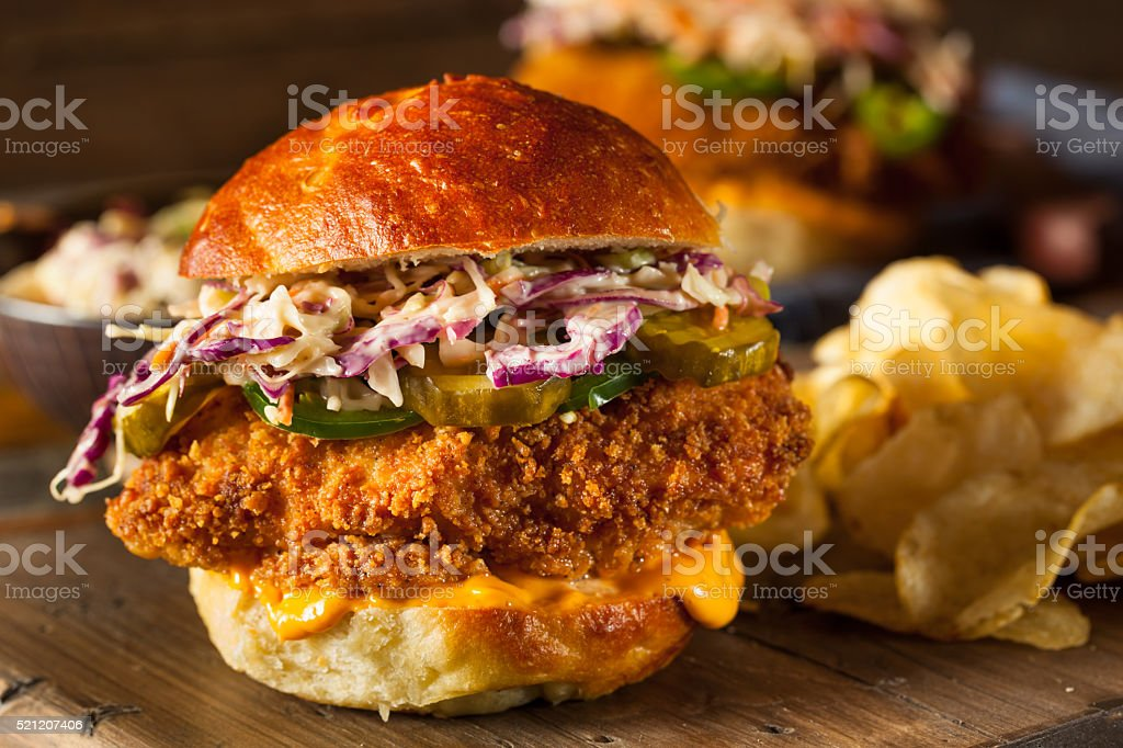 Southern Country Fried Chicken Sandwich stock photo