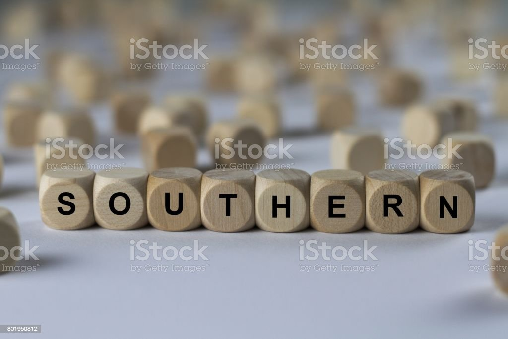 southern - cube with letters, sign with wooden cubes stock photo