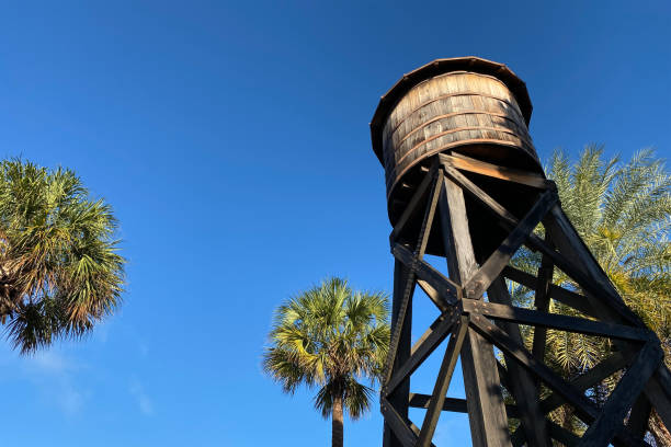 southern farm wooden water tower stock photo