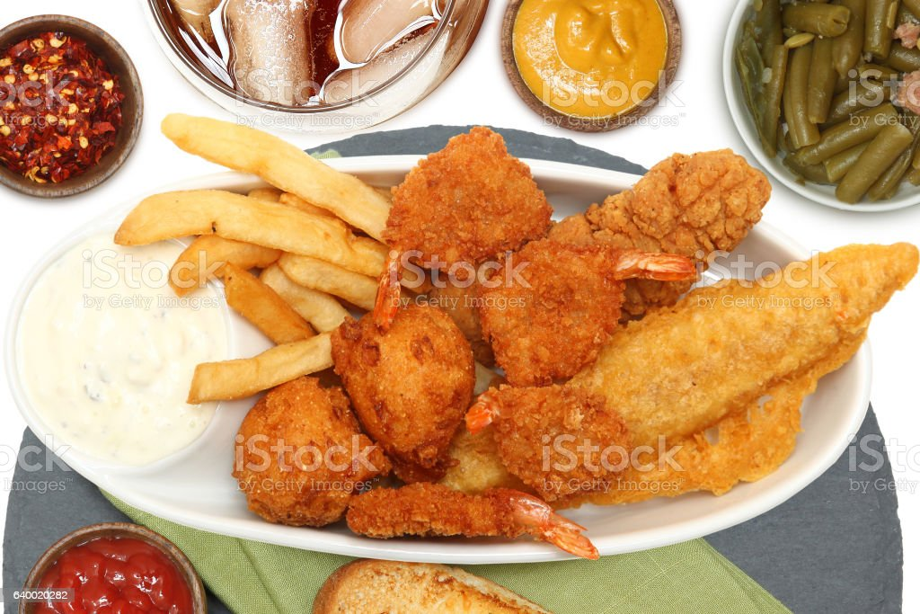 Southern Fried Fish, Chicken and Shrimp stock photo