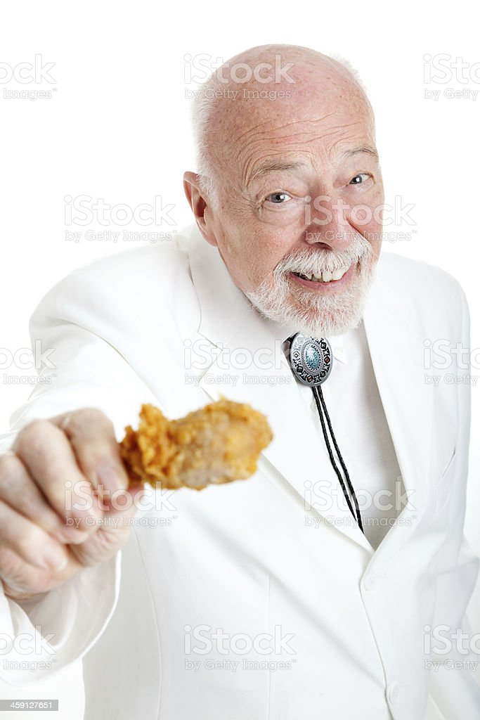 Southern Gentleman With Fried Chicken Drumstick stock photo