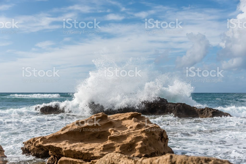 Southern Mediterranean Storm Waves stock photo